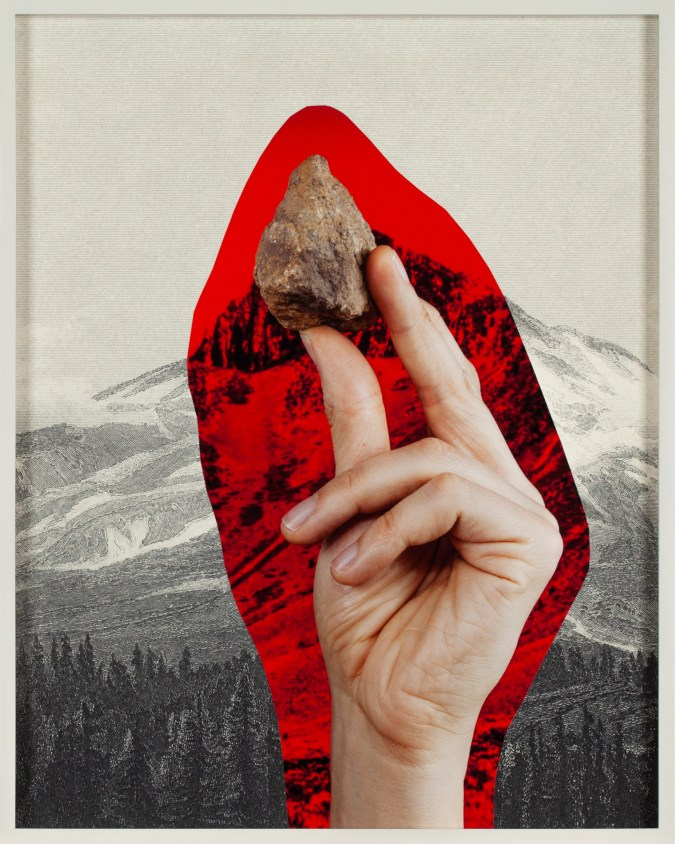 Collage of a hand holding a stone surrounded by a red aura over an engraving of a mountain