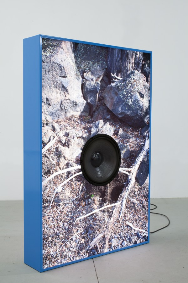 Color photograph of rocky earth cut around a black speaker in a blue frame