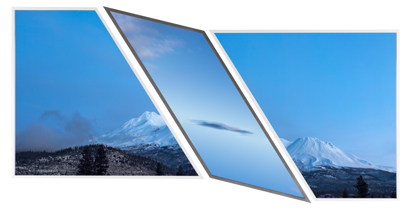 Three color photographs of a blue landscape of a snow-covered mountain bisected by a single cloud in a clear sky
