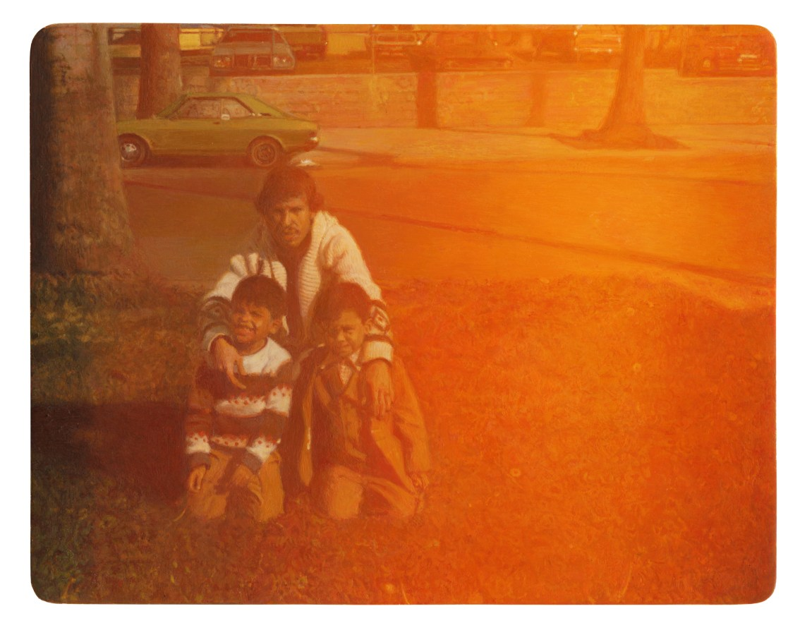 Photorealistic painting of a man kneeling on a suburban lawn with his arms around two little boys