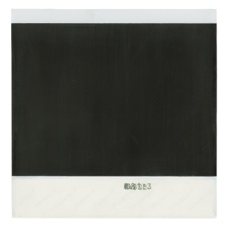 A painting of the verso of a polaroid photograph, made at one-to-one scale.
