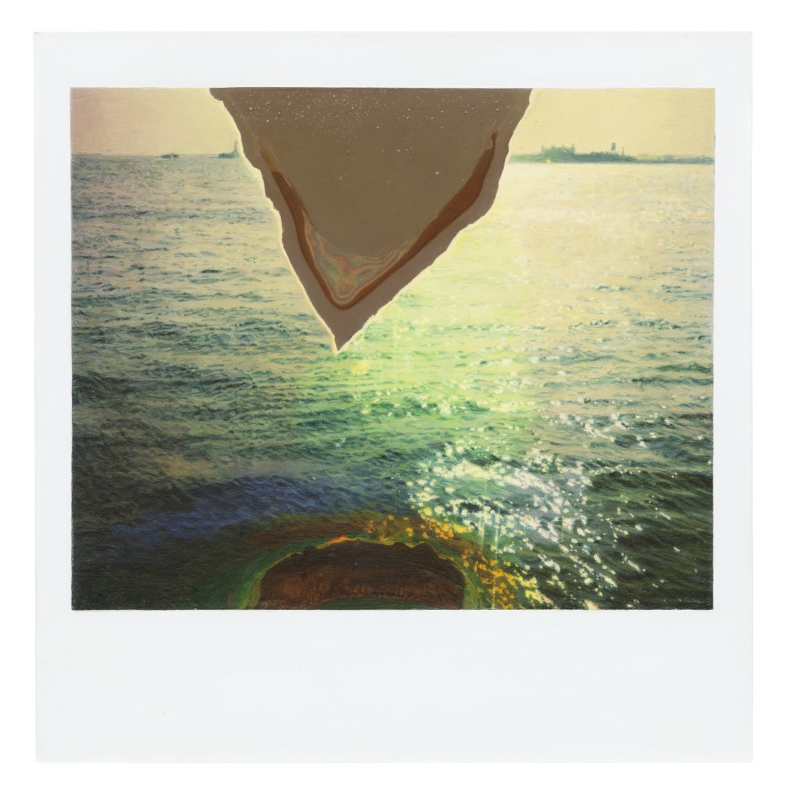 A painting of a polaroid photograph, made at one-to-one scale. The photograph depicts the surface of the ocean, with a triangle of emulsion loss cutting through the top center of the image.