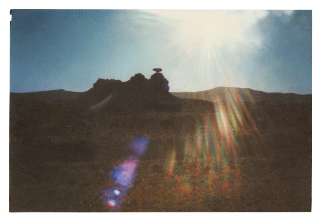 A painting of a vernacular photograph, of a rock formation out in the desert. The sun has caused a rainbow light flare in the center of the image.