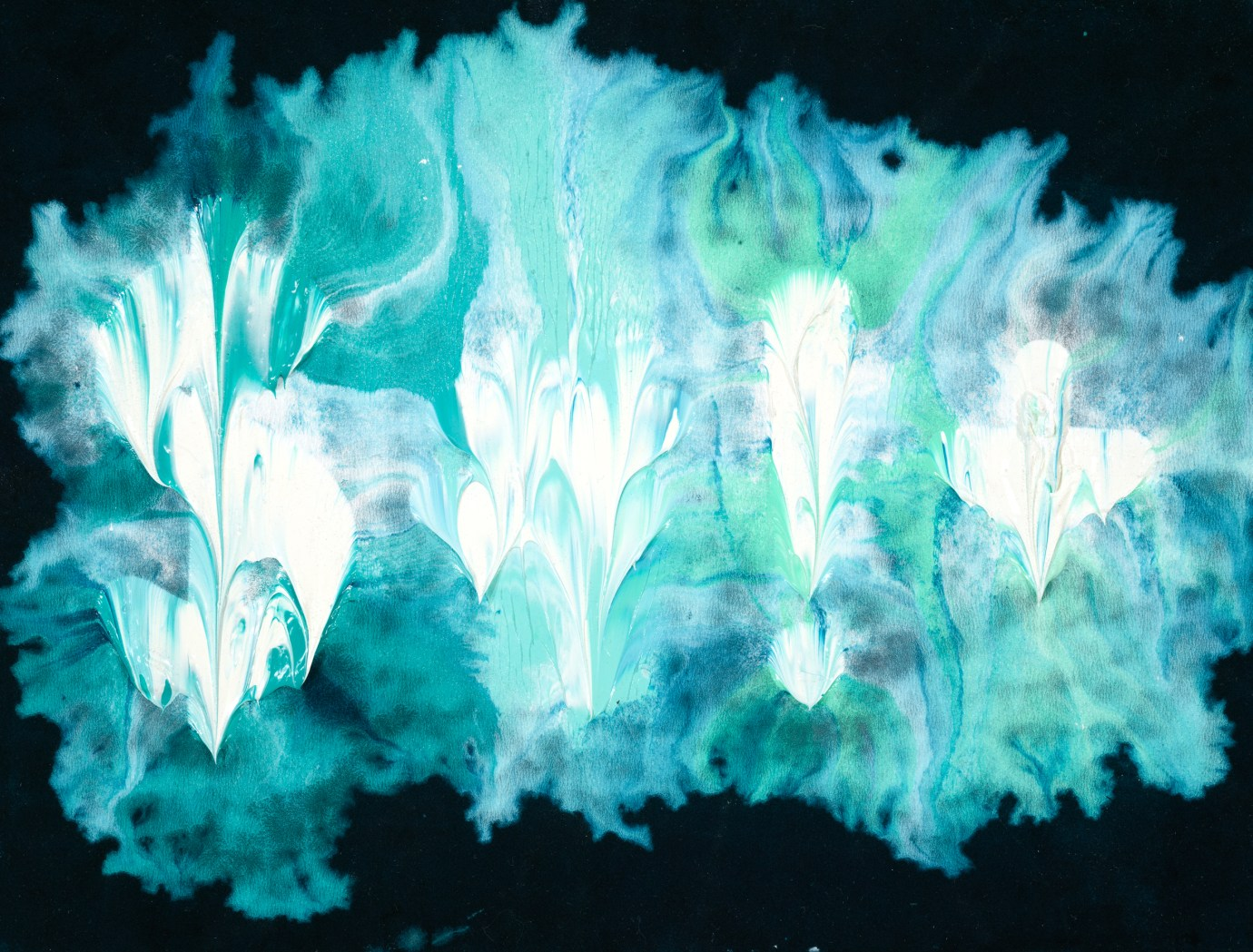 """An oil painting with thickly applied light blue paint forming a smudge, and the text """"$#!+"""" in white."""