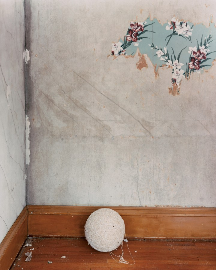 A color photograph of a ball of string in the corner of a room. A small patch of blue flowered wallpaper is on the drywall above it.
