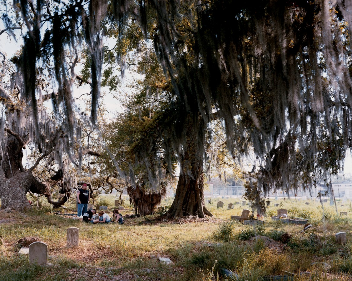 Color photograph of a tree in a cemetery, with long Spanish moss hanging from the branches. A small group of teenagers sits below the tree, in the grass.