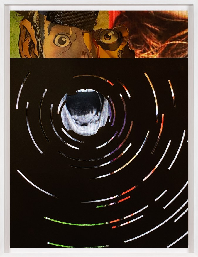 A framed collage made from comic book images, of a person screaming with concentric circles around their open mouth.