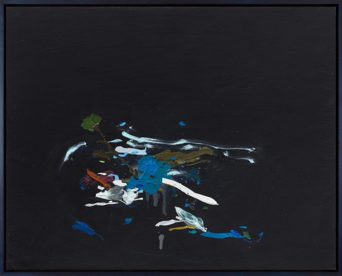 An abstract painting of a deconstructed light blue flower, on a black ground, with blue, green, brown and white colors coming out of it.