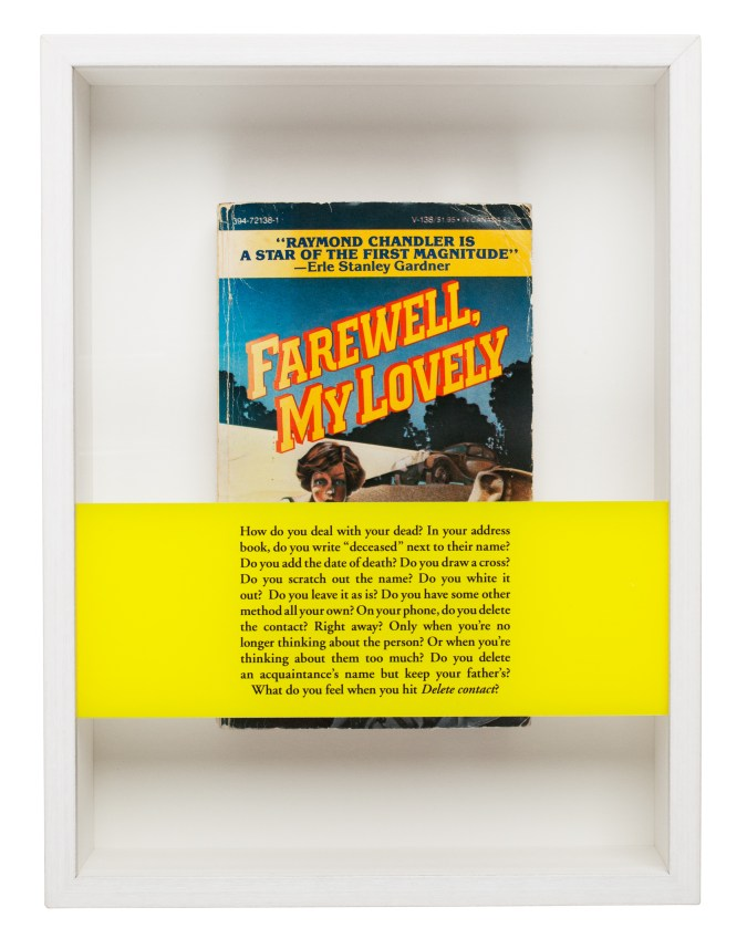 """A found book reading """"Farewell My Lovely"""" in a white box, with a yellow band of text over the top."""