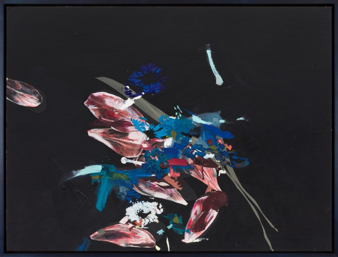 An abstract painting of a deconstructed pink flower, with a burst of blue coming from the center.