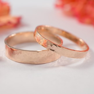 hammered rose gold ring set 2