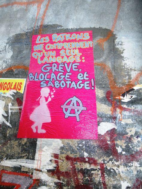 greve, blocage, sabotage - affiche - besancn, sept2013