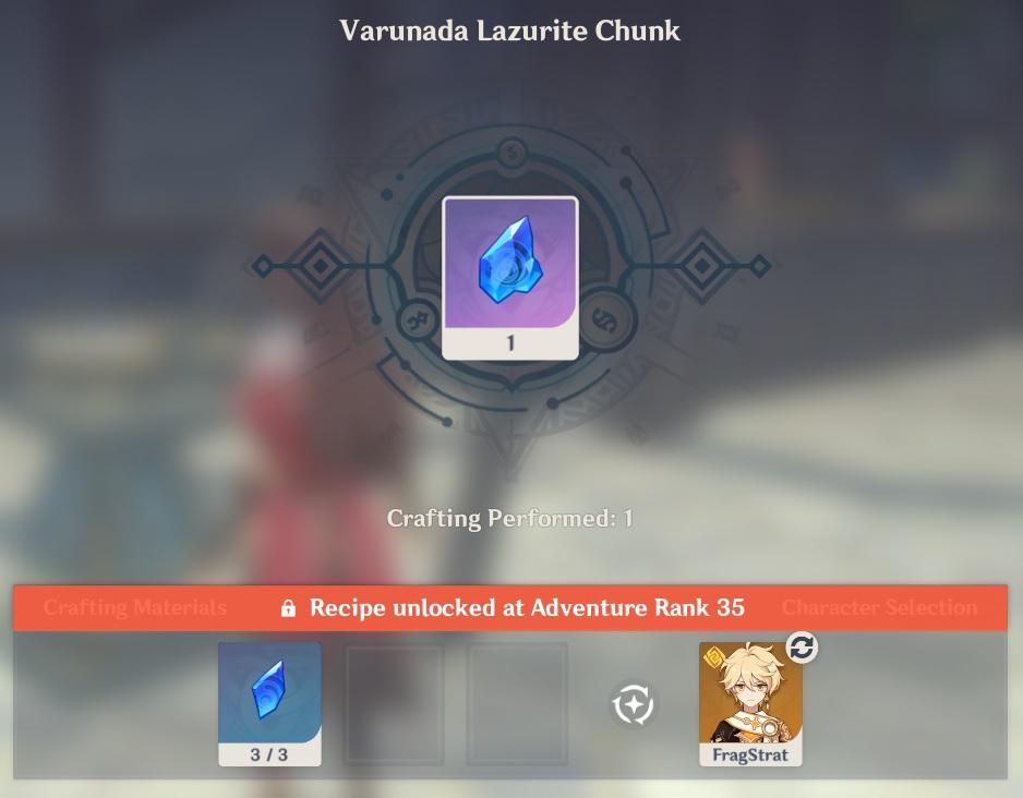 Varunada Lazurite Chunk Crafting