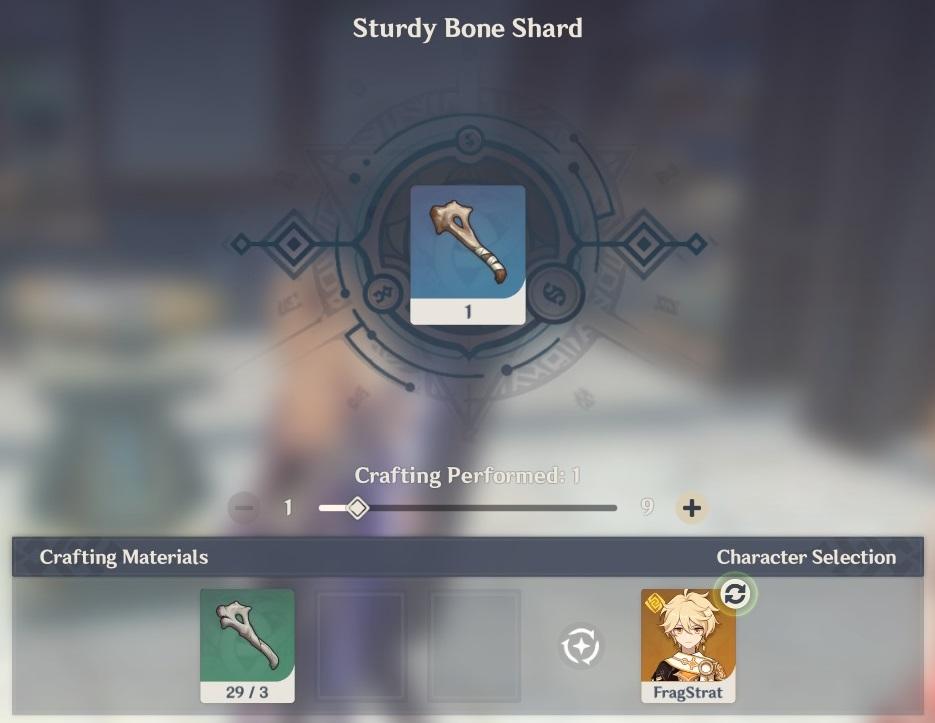 sturdy bone shard crafting