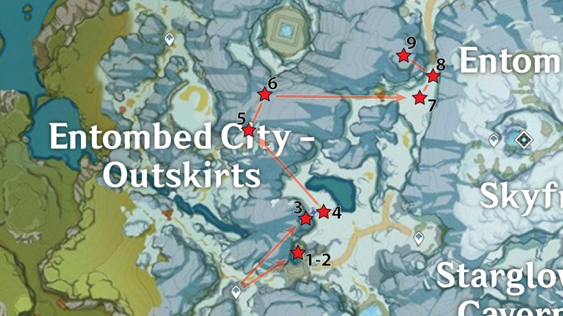 Entombed City – Outskirts (East) Crimson Agate Locations