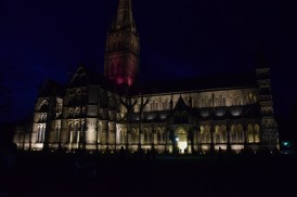 Abbey at night in Salisbury