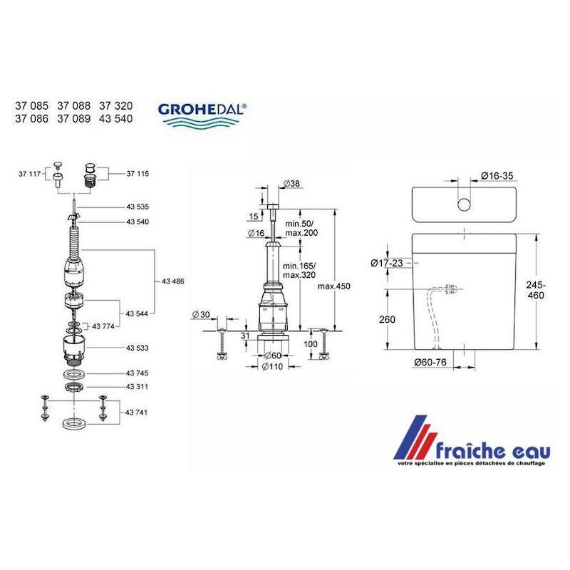Soupape Grohe Dal Interrompable Servo 37088 Pour Chasse Wc Mecanisme A Tirette Complet Avec Joint Et Ecrou De Fixation