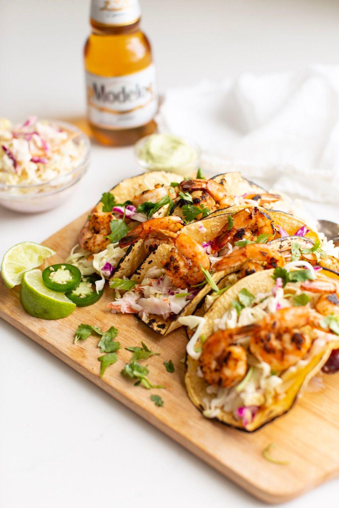 Shrimp Tacos with Coleslaw and Avocado Crema