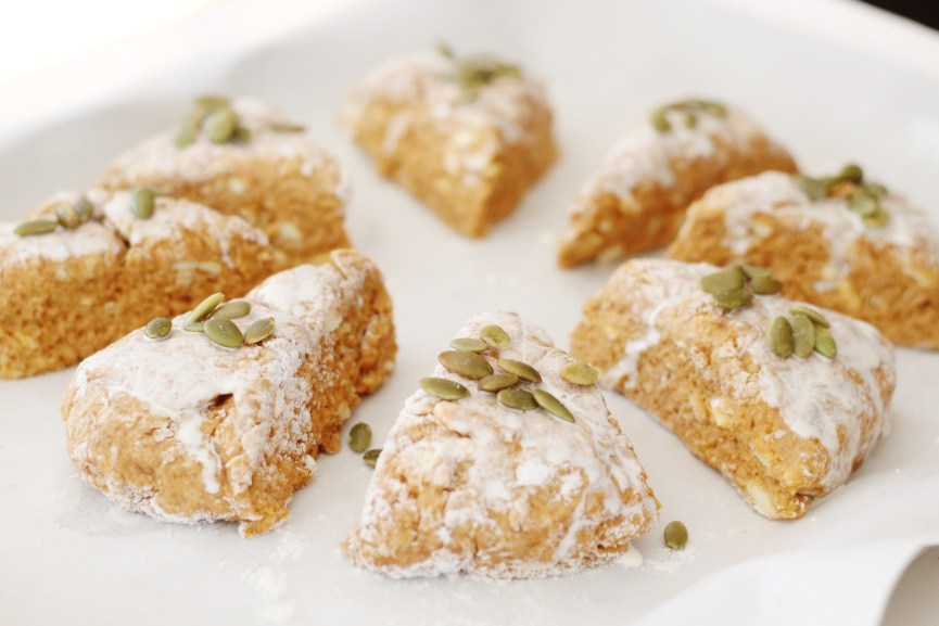 Pumpkin scones topped with pumpkin seeds