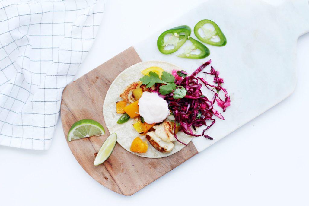 Fish Tacos with Apple Cilantro Slaw