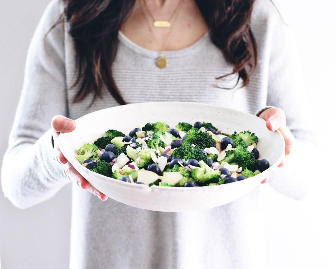 Apple Blueberry Broccoli Salad with Creamy Lemon Poppyseed Dressing (vegan)