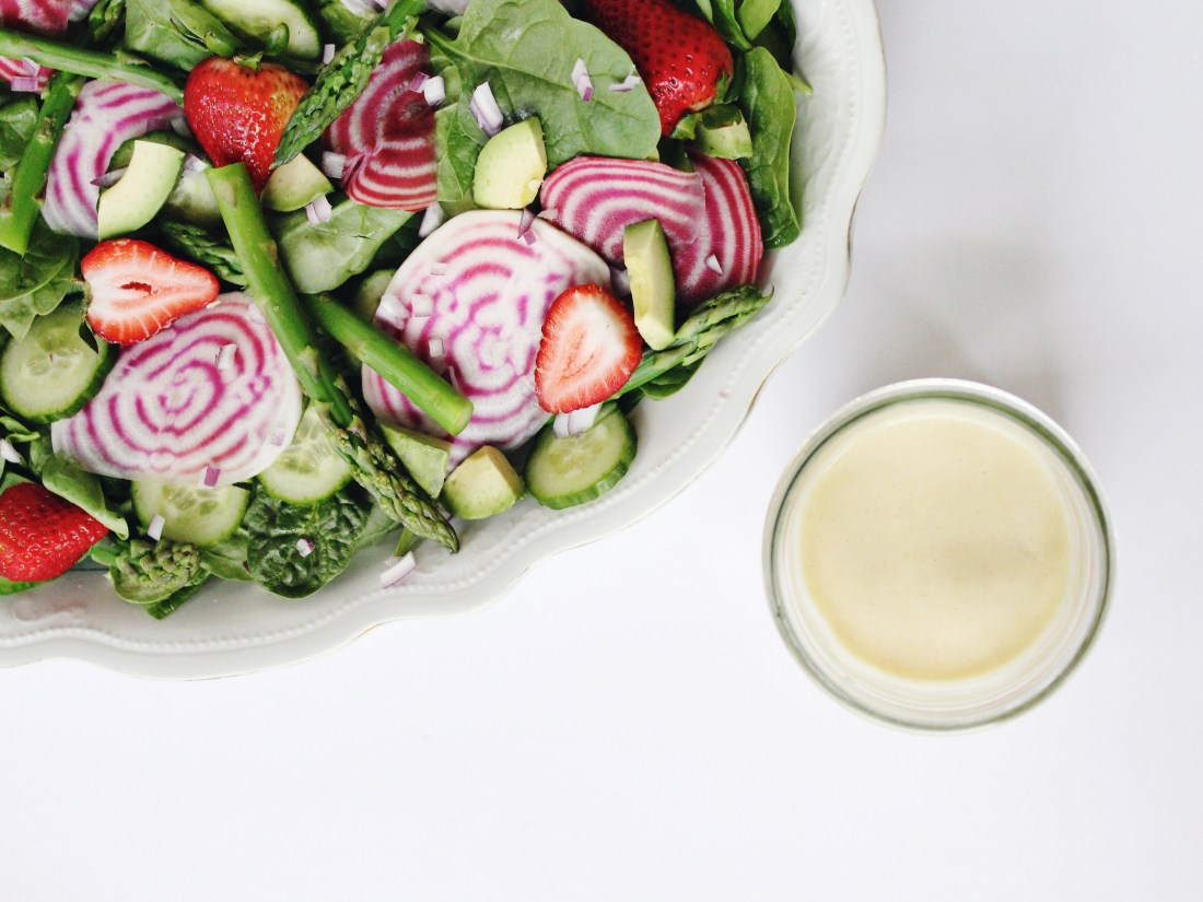 Spring Chopped Salad with Creamy French Dressing (vegan)