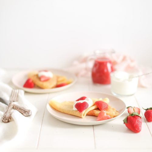 Strawberry Lemon Sweetheart Crêpes