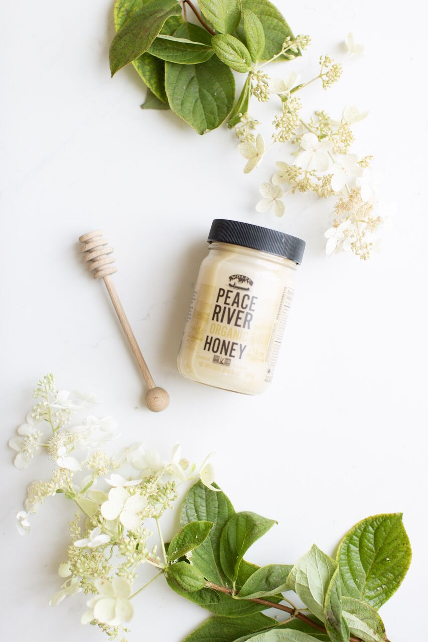 local creamed honey with a honey wand