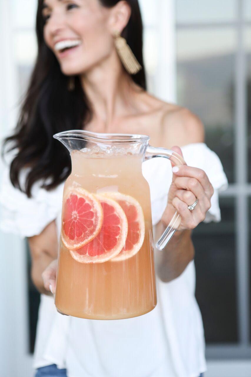 Pink Grapefruit White Wine Sangria by Tori Wesszer of Fraiche Nutrition