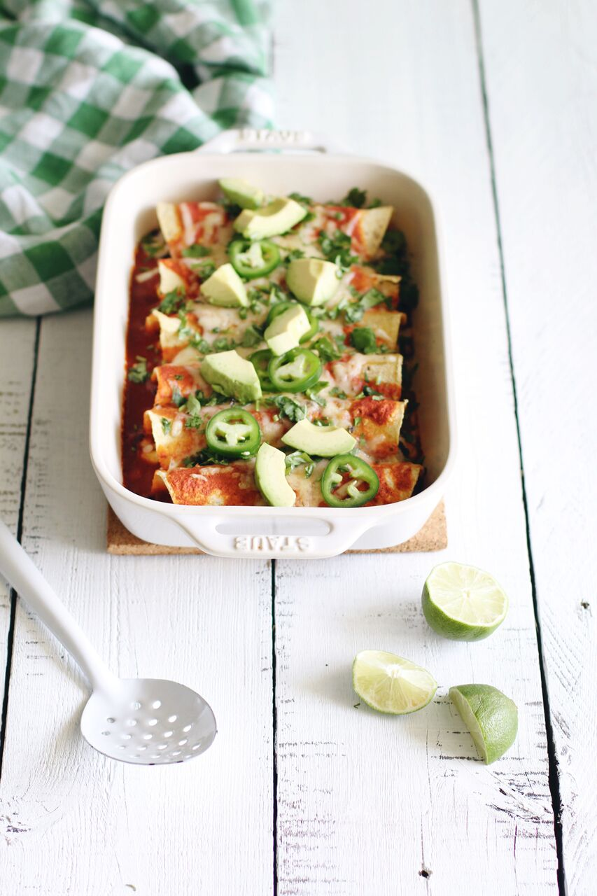 Easy Vegetarian Enchiladas make for a perfect meal in under 30 minutes when prepped ahead!
