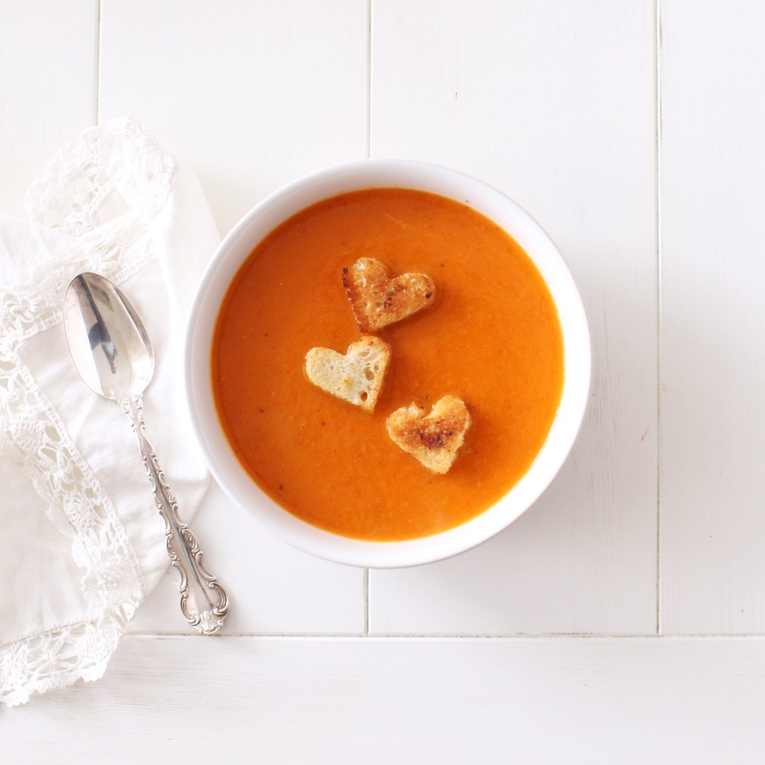Roasted Tomato Pepper Soup with heart shaped croutons