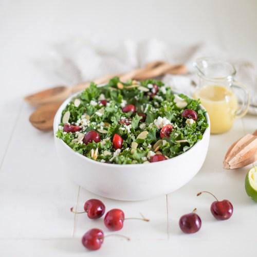 Cherry Kale Salad with Honey Lime Vinaigrette