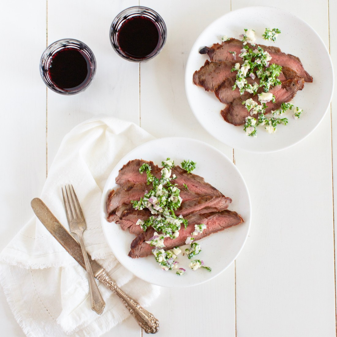 Grilled Flank Steak with Feta Salsa