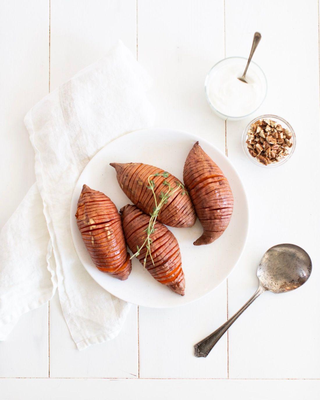 Healthy Maple Hasselback Sweet Potatoes