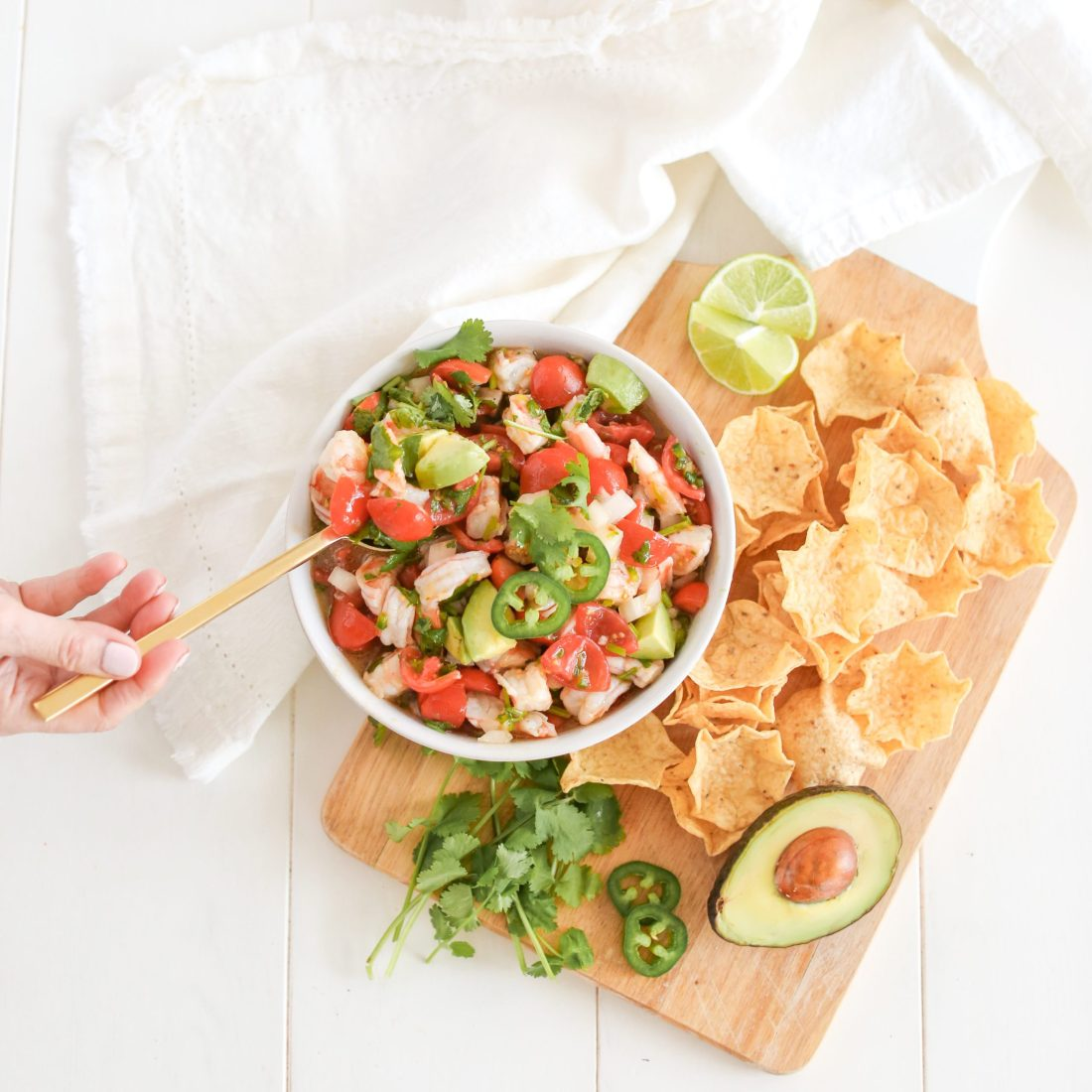 Shrimp Avocado Salsa with cherry tomatoes and tortilla chips