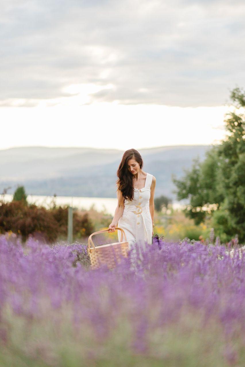 walking in lavender fields