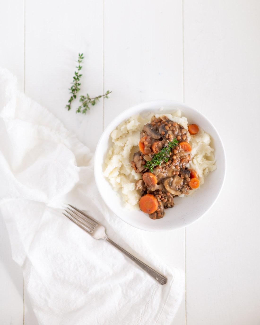 Easy Vegan and Gluten Free Lentil Mushroom Stew Recipe