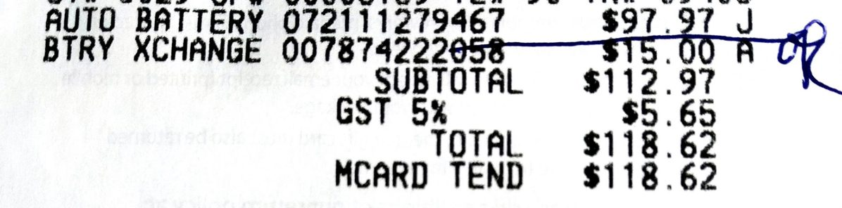 Receipt showing cost of Car Battery and environment fee
