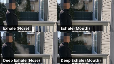 Examples of exhaling in the cold, through nose and mouth, with breath visible from condensation