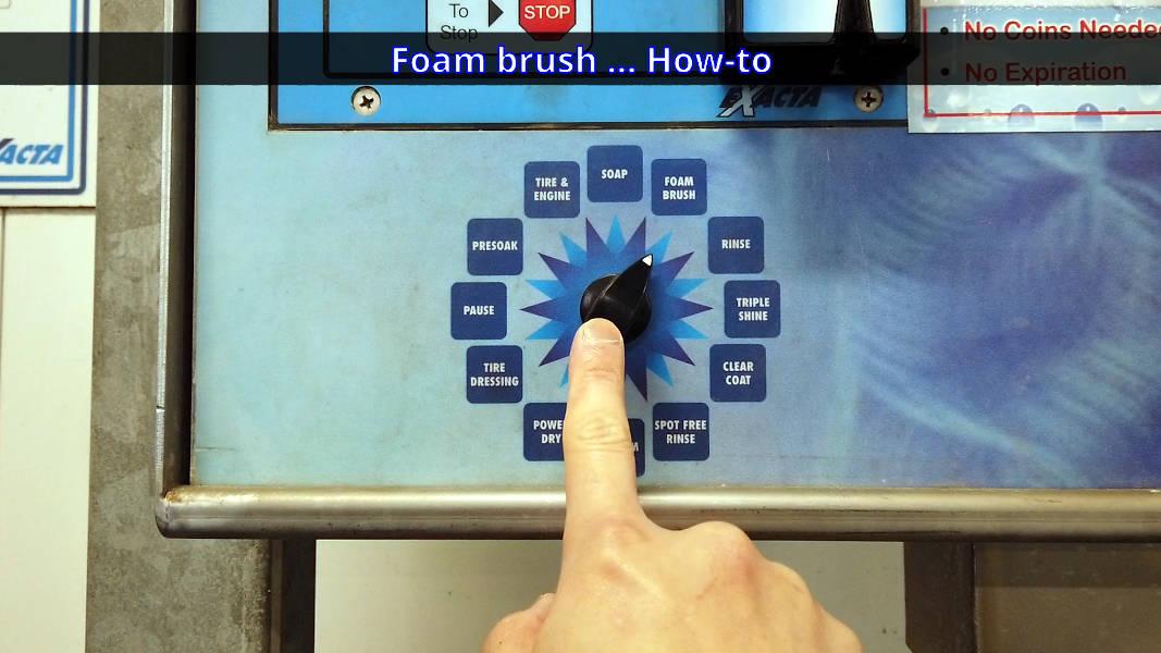 Self-serve car wash control panel dial options - Foam Brush setting