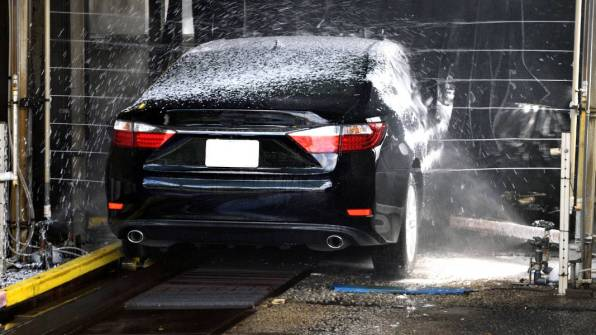 Automatic car wash with harsh soaps