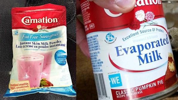 Evaporated milk or Powdered milk used in Bubble Tea