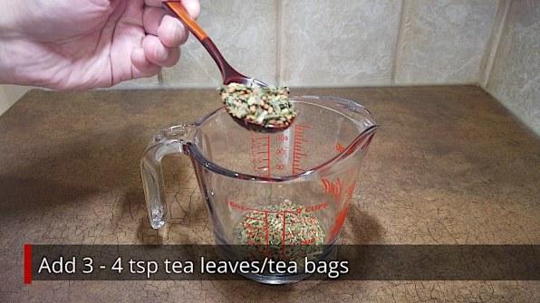 Teaspoons of Genmaicha Tea Leaves