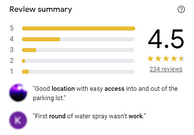 Google review for a car wash