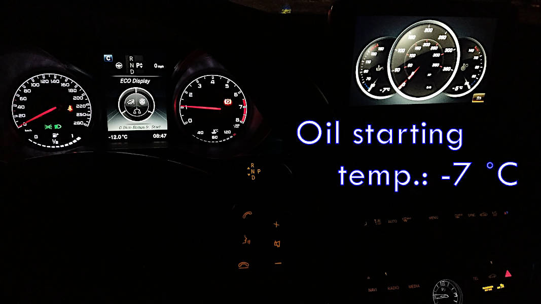 Starting oil temperature is -7 degrees Celsius when car is first started