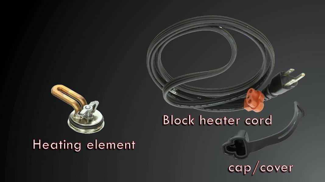 Components of a Block Heater (Heating element, Cord, Cap)