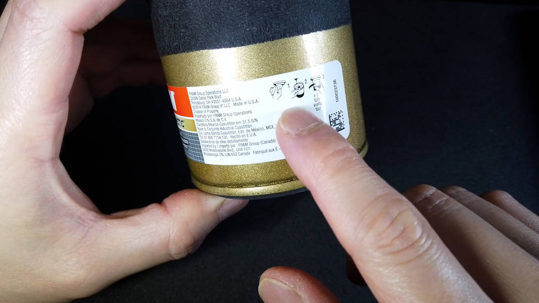 Installation instructions printed on replaceable oil filter
