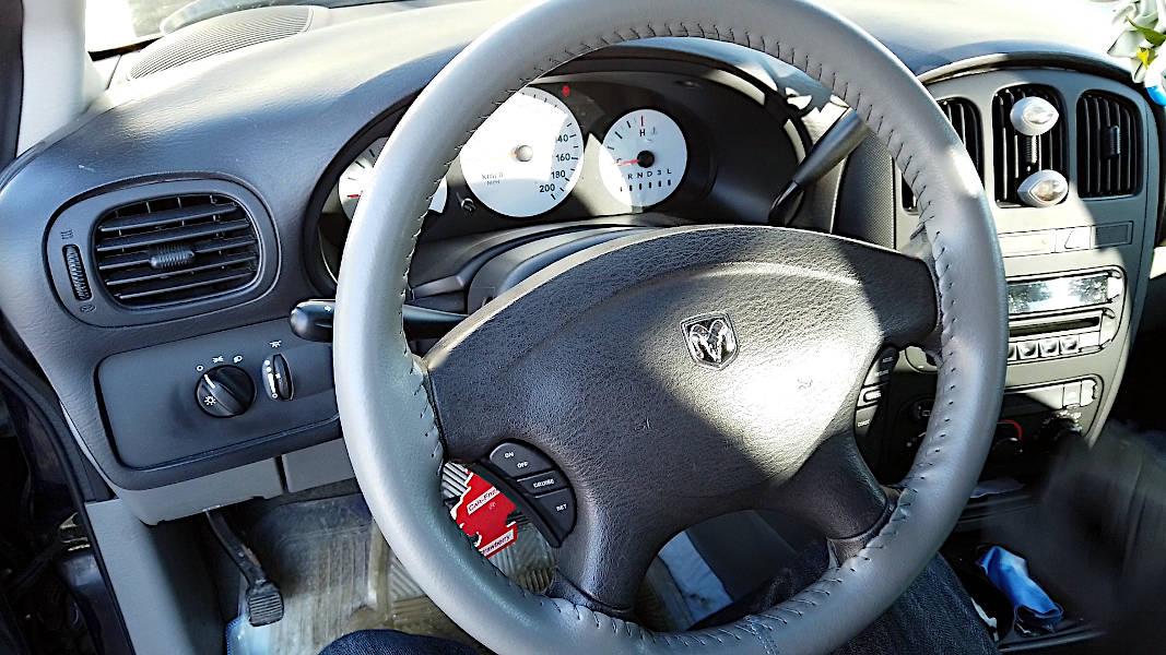 Old Dodge Caravan steering renewed with new leather wrap