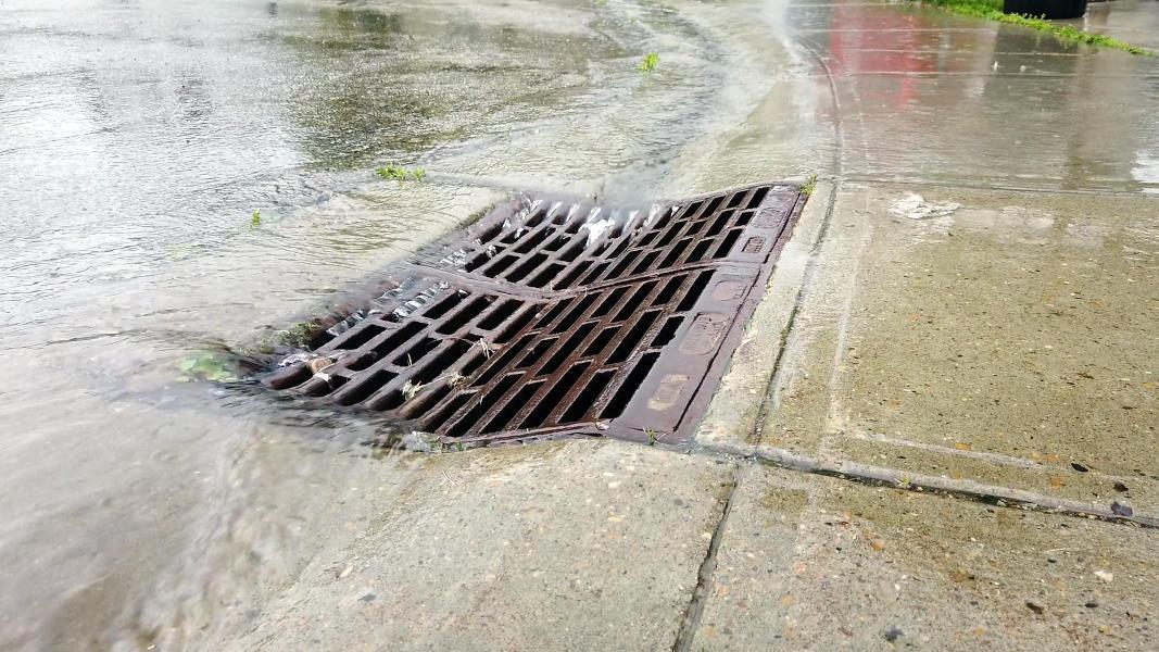 Rain water draining into storm drain