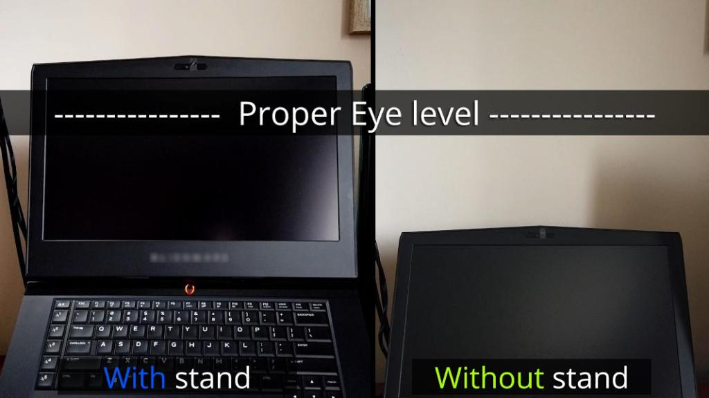 Comparing proper height of laptop screen with and without laptop stand